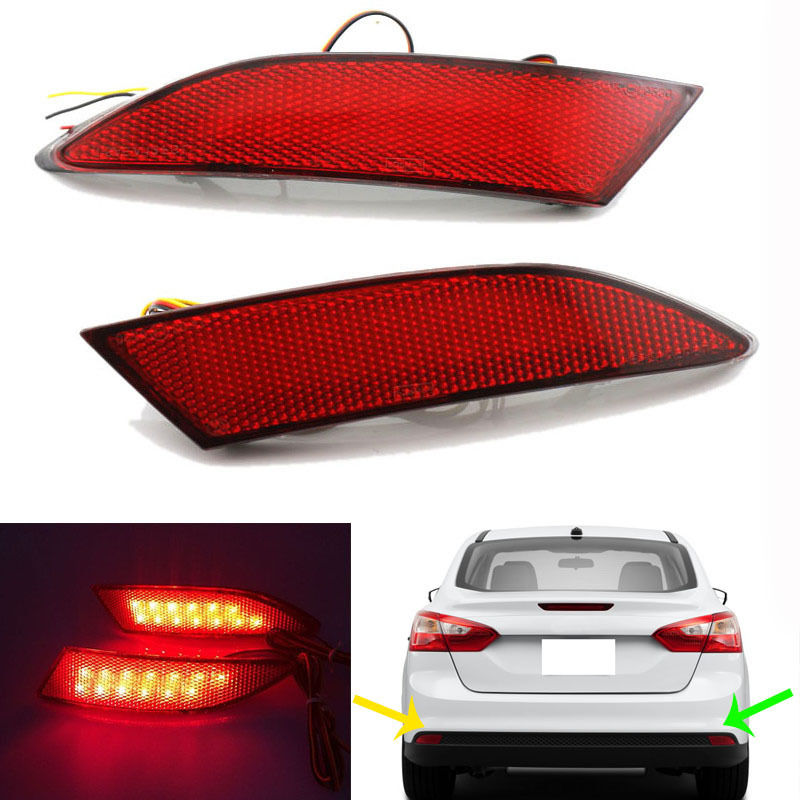 ФОТО For 2012 Ford Focus Car Accessories LED Red Rear Bumper Reflectors Light Brake Parking Warning Night Running Tail Lights