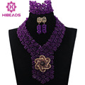 Purple Crystal Necklace Wedding African Beads Jewelry Set 2017 Fashion Nigerian Beaded Statement Necklace Free shipping WD555