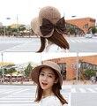 Nuevo verano de ala ancha de paja sombreros de playa para mujeres plegable cubo Caps Sunbonnet femenino envío gratis SCCDS-002