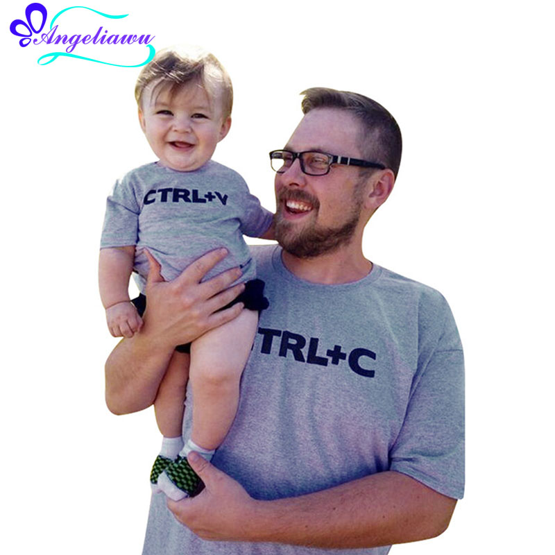 CTRL C + CTRL V Pattern Family Look Father And Son Clothes Short Sleeve Father Son Shirt ...