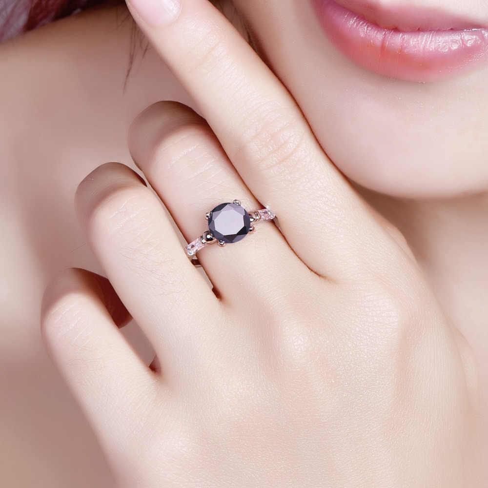 Lingmei Yeni Geliyor Yuvarlak Çok Renkli ve Siyah Beyaz CZ Gümüş Renk Yüzük Boyutu 6 7 8 9 Klasik Kadın Takı nişan Parti Hediye