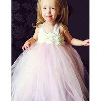 Nuevo Llega Marfil Rubor Rosa Lavanda Flower Girl Dress Tutu Vestido de Verano Vestidos de Las Muchachas Rose Shabby Muchachas de La Princesa Ropa de Bebé