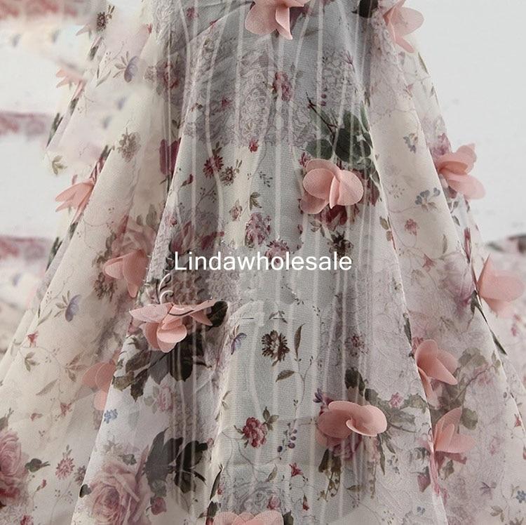 Women's fashion dress fabrics,Chiffon 30D printing manual three dimensional flower embroidery cloth,135cm*91cm(one yard)/pcs