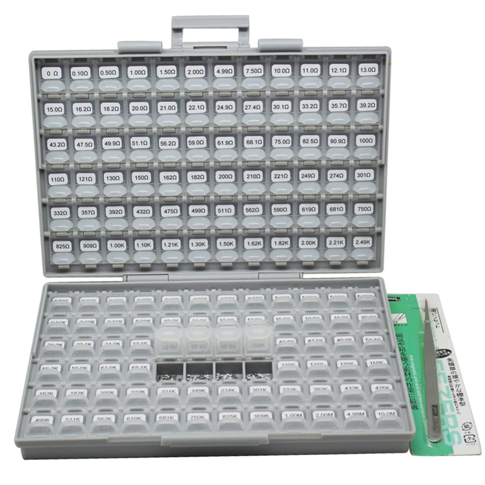 AideTek Surface Mount 0805 1% Resistor Kit 10M ohm 144V 100pc/value 14400pcs in BOX-ALL plastic part box lables DE UK R08E24100 5000pcs 0805 56r 56 ohm 5% smd resistor