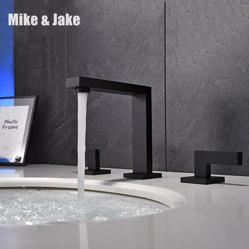 Robinet de lavabo de salle de bains robinet double poignée monté robinet noir robinet de lavabo mitigeur de salle de douche chaude et froide robinet d'évier MJ0289B