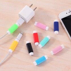 Protector de Cable de datos de línea de colores Protector de Cable funda protectora de Cable de tamaño largo para iPhone Cable de carga USB