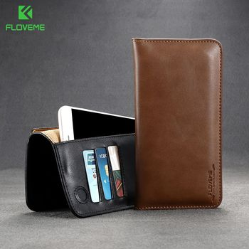 FLOVEME Universal Genuine Leather Wallet Case For iPhone X 8 7 6 6S Plus For Samsung Galaxy Note 8 S8 S9 Plus S7 S6 Pouch Cases 5