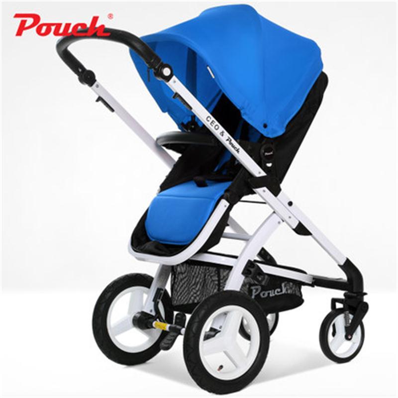 Pochette E89 bébé poussette 2-en-1 grand champ pliant landau haut paysage pliant bébé poussette avec sac à provisions pour bébé