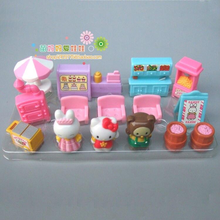 Стоимость доставки конфеты, игрушки мебелью игрушки 15 Товаров Мини Китти играть Кукольный дом аксессуары для девочек на день рождения новы...