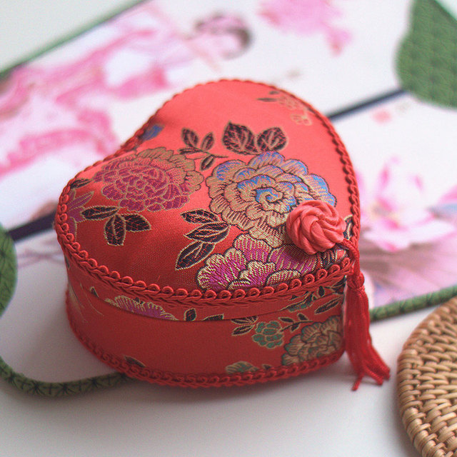 Mini Jewelry Box Traditional Chinese Embroidery Portable Travel