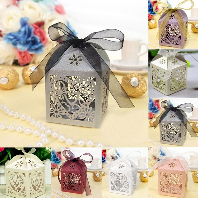 Colorful 10PCS/Lot Bird Love Heart Candy Boxes Hollow