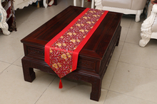 Brand New Noble Classic Mixed Colour ChineseTable Runner flower Bed Flag Wedding Decor nature beauty Red Luxuary shiny deco