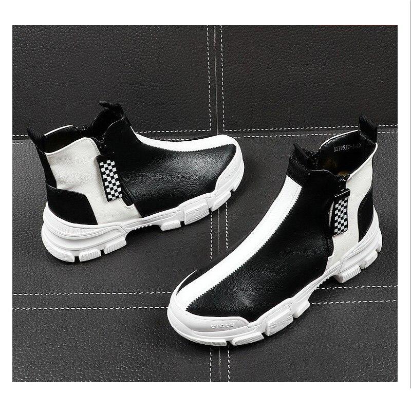 2019 Элитный бренд Для мужчин модные высокие кроссовки черный, белый цвет клетчатый полусапожки Повседневное высокая обувь Для мужчин для от... - 3
