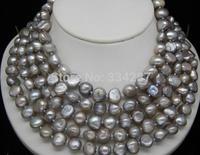 80 Beautiful 9 10MM Silver_Gray Color Baroque pearl necklace