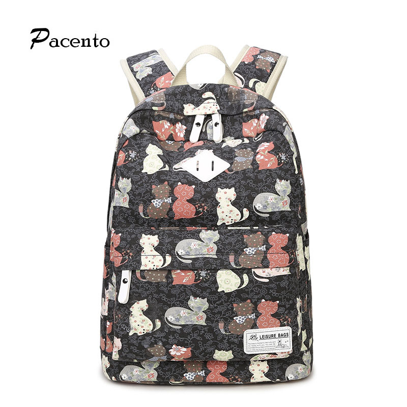 New Style Young Women Canvas Backpack Lovely Cat Prints School Bags for Teenage Orthopedic Backpack for Girl Sac A Dos Femme надувная лодка hunterboat хантер 300 лтн зеленый