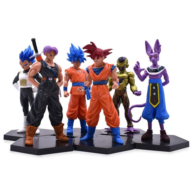 Free Shipping 6Pcs/Lot 14cm Cartoon Dragon Ball Z PVC Action Figures Goku Son Vegeta Beerus Trunks Freeza Toys Dolls Black Base