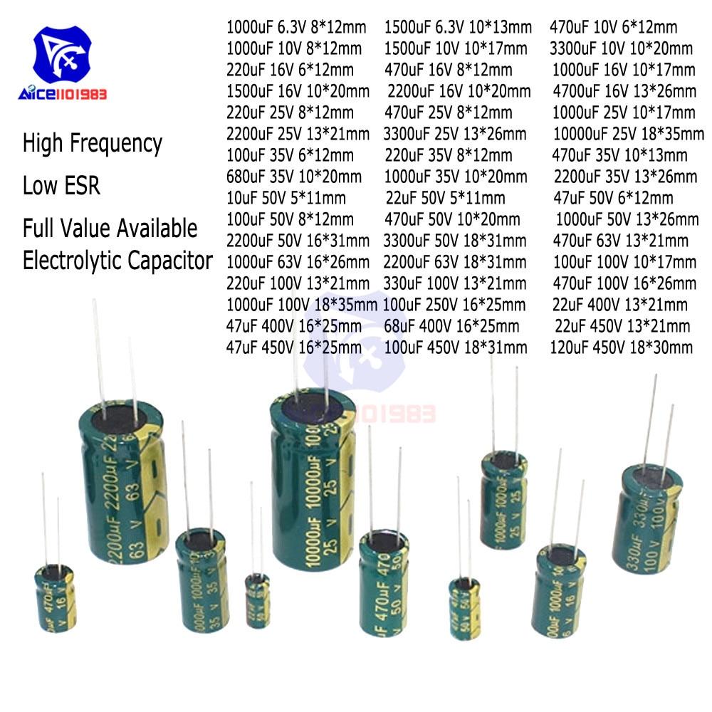 20PCS Electrolytic Capacitors 6.3V 10V 16V 25V 35V 50V 63V 100V 250V 400V 450V 10uF 100uF 220uF 330uF 680uF 470uF 1000uF 2200uF