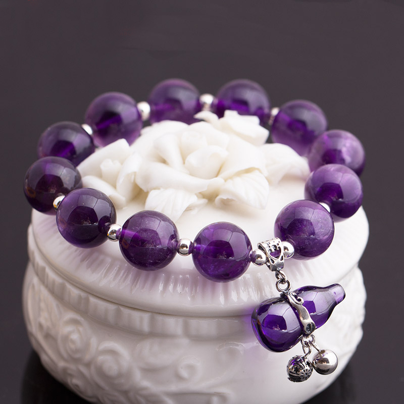 Natural Purple Crystal Gourd Beads Bracelet With Silver Elastic Line Bracelet