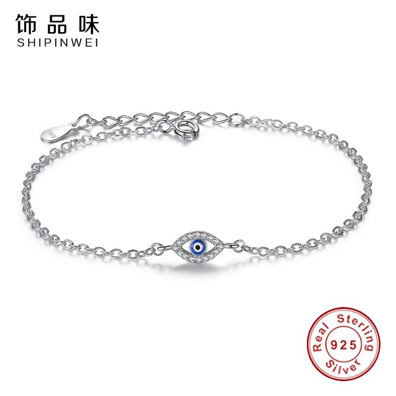 EVOJEW Luxury 925 Sterling Silver Chain Link Bracelets Creative Blue Eye Clock Infinity Bracelet for Women Wedding Lucky Jewelry 925 sterling silver infinity bracelets
