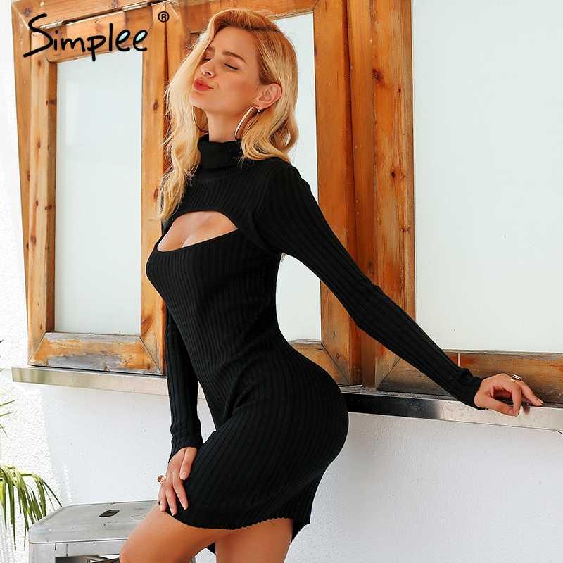 Осенне-зимнее женское платье Simplee, облегающее трикотажное кружевное платье-водолазка, узкое вечернее платье-свитер с длинным рукавом