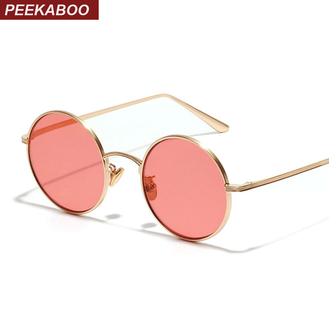 9a5f77518 Peekaboo circular sunglasses women retro vintage silver gold metal frame  clear yellow red round sun glasses for men uv400