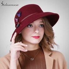 Sedancasesa nuevo Otoño Invierno mujer sombrero Fedora sombrero hecho a mano  mariposa europea de ala ancha sombrero de moda de I.. acfae4befff0