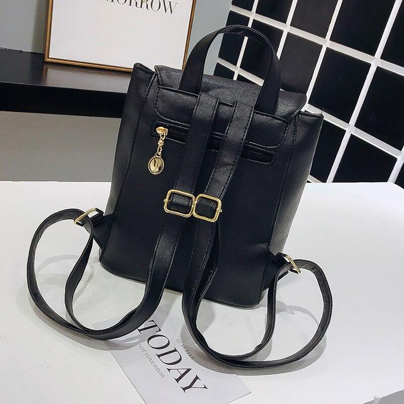 Dropshipping Women Backpack High PU Leather Backpack For Teenage Girl Fashion Drawstring Flap Vertical Zipper School Bag Bookbag