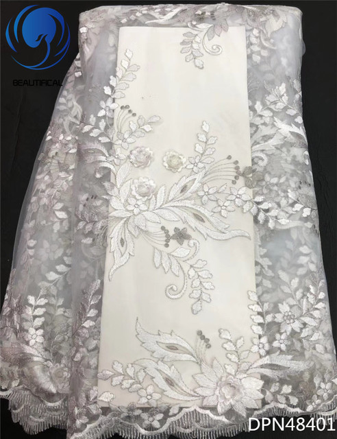 Beautifical White Lace Fabric African Lique Nigerian Fabrics For Wedding