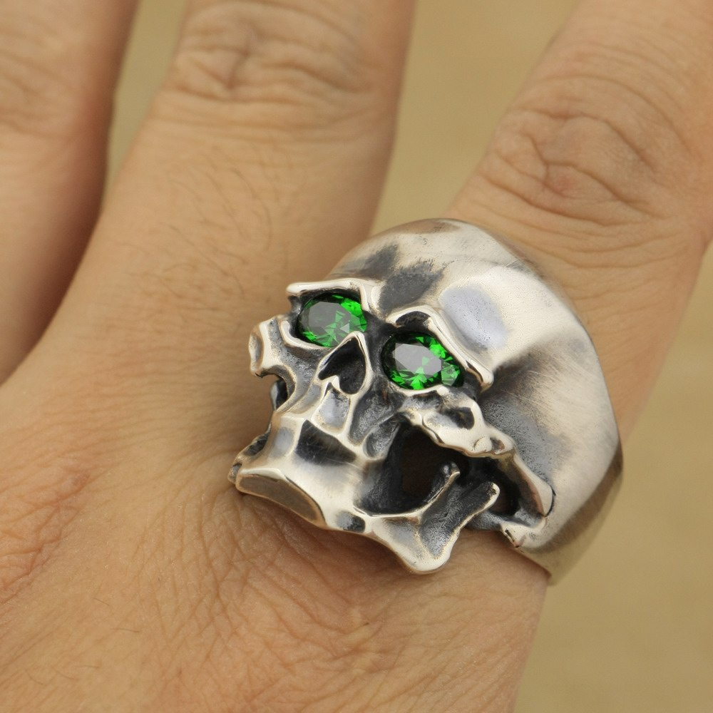 Heavy 925 Sterling Silver Green CZ Skull Mens Biker Punk Ring TA45A US 7~15 green cz eye 925 sterling silver skull ring mens biker punk style 8v306a us 8 15
