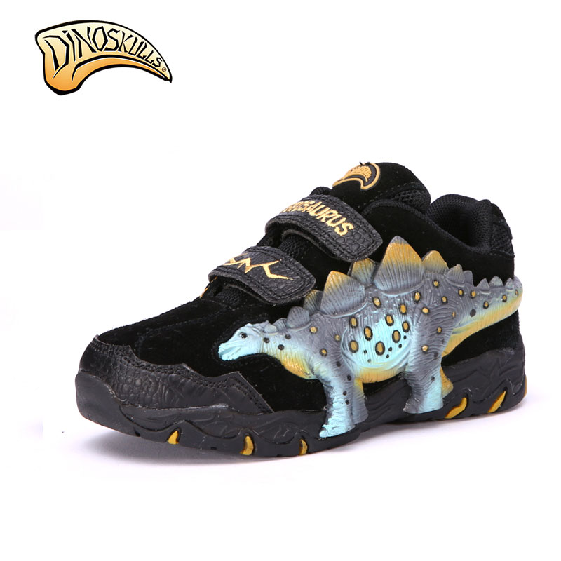 Children Casual Shoes Boys Shoes Brand Kids Leather Boys Sneakers Sport Shoes 3D dinosaurs shose Dinosaur eyes flashing shoes