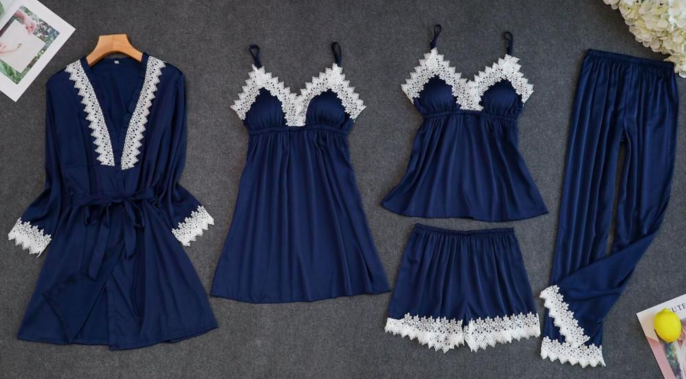Женские пижамы, 5 шт., атласная пижама, шелковая Домашняя одежда, домашняя одежда, вышивка, Пижама для сна, для отдыха, пижама с нагрудными накладками - Цвет: Синий