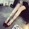 shoes woman 2016 casual soft gladiator roman pointed toe flats KJ357