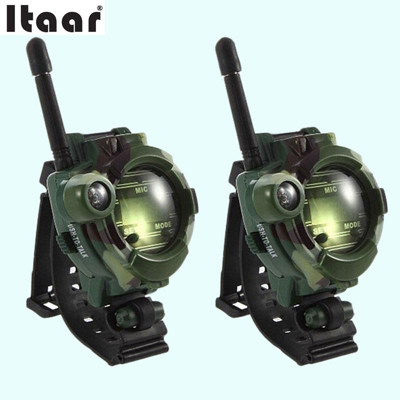 2pcs/lot Wireless Walkie Talkie Camouflage Military Parenting Toy Wrist Watch Intercom Electronic Interactive Educational Toys