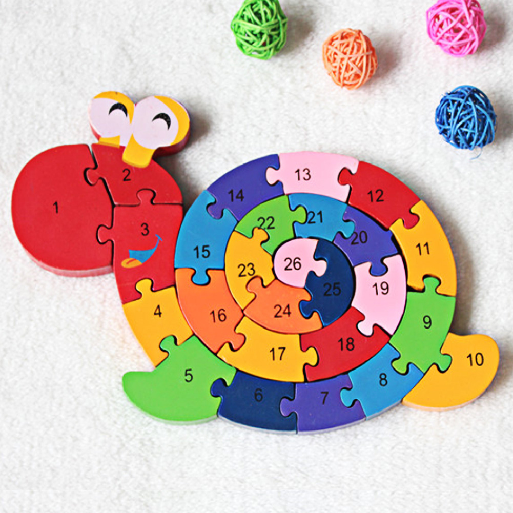 Baby Puzzles Wooden Toy Kids Montessori Toy Brain Training Educational Toys Game Play Winding Snail Wood Toys Kids 3D Puzzles