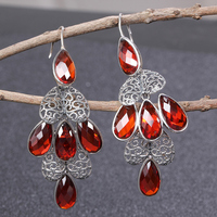 JIASHUNTAI Vintage 100% 925 Sterling Silver Drop Earrings For Women Natural Precious Stones Thai Silver Earring Jewelry