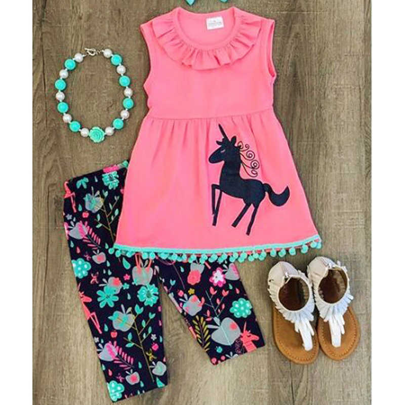 ff85958c2b Hot-sale Summer Baby Girls Clothes Vest T-shirt+Flower Pattern Pants Style