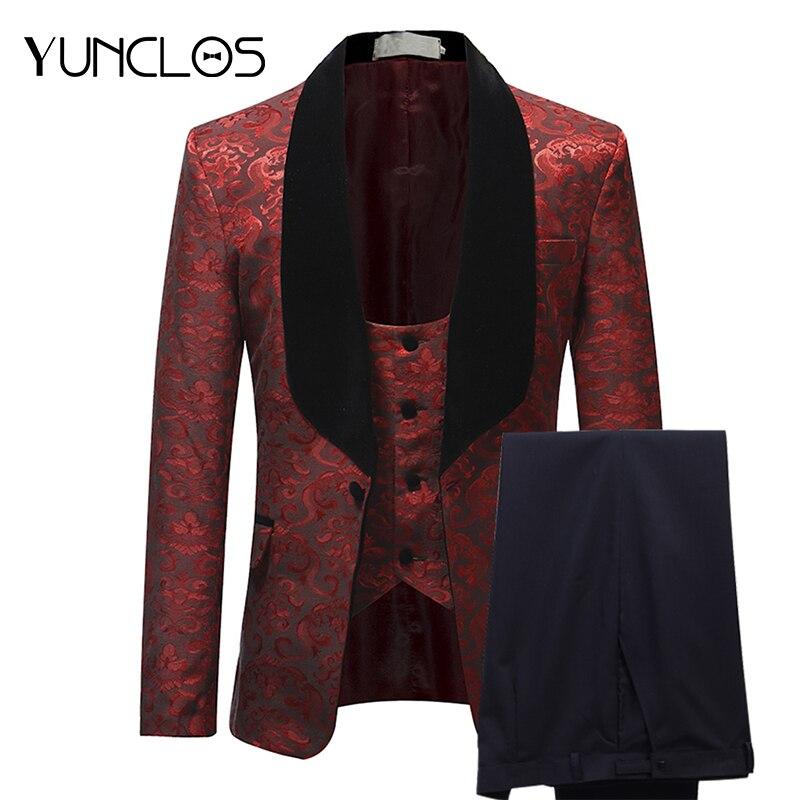YUNCLOS, бордовый, красный мужской костюм, приталенный, с шалевым воротником, мужские свадебные костюмы, модные жаккардовые, 3 предмета, костюмы ...
