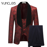 YUNCLOS Burgundy Red Suit Men Slim Fit Shawl Collar Men Suits For Wedding Fashion Jacquard 3 Piece Prom Suits