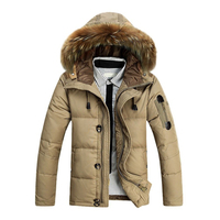 Thời trang HOT BÁN Lông Collar Trùm Đầu Mùa Đông Dày Xuống Áo Outwear Xuống Màu Cam Kaki Màu Đen M-3XL