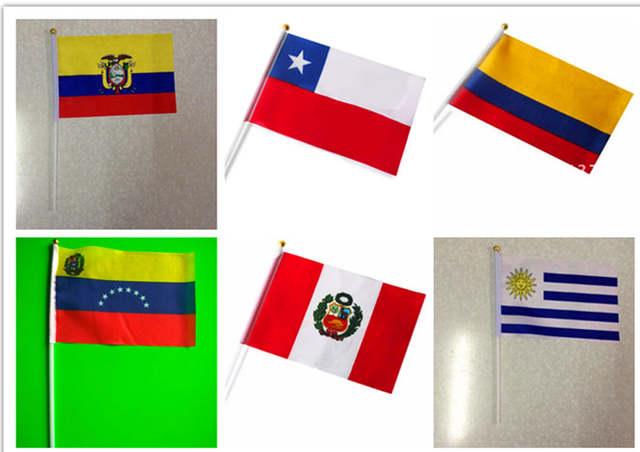 Venezuela Columbia Ecuador peru Uruguay Chile flags 14 21cm with poles used  in desktop 63611997416