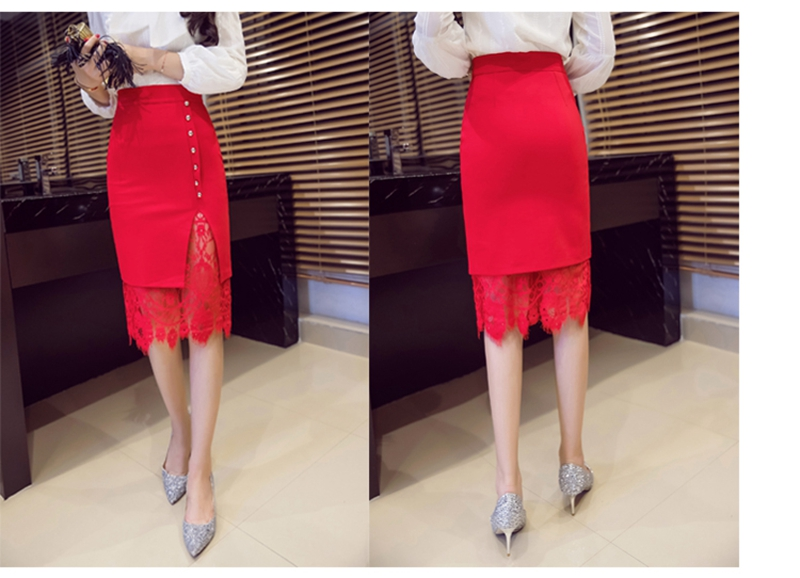 Women's Skirt High Waist Pencil Skirt Summer 2017 Fashion Women Knee Length Lace Patchwork Lady Formal Work Skirts Plus Size 18
