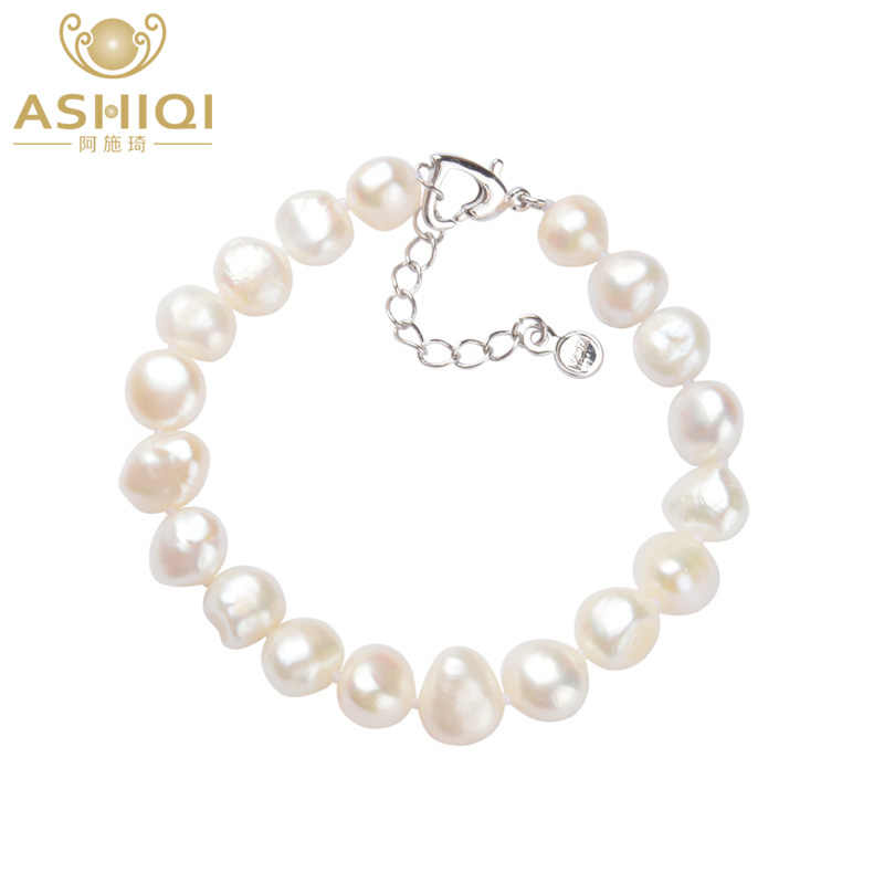 ASHIQI  Natural Freshwater Pearl Bracelets 9-10mm white Baroque pearl for women gift