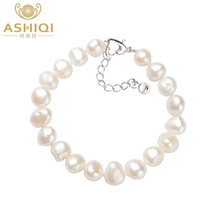 ASHIQI Natural Freshwater Pearl Bracelets 9-10mm white Baroque pearl for women gift(China)