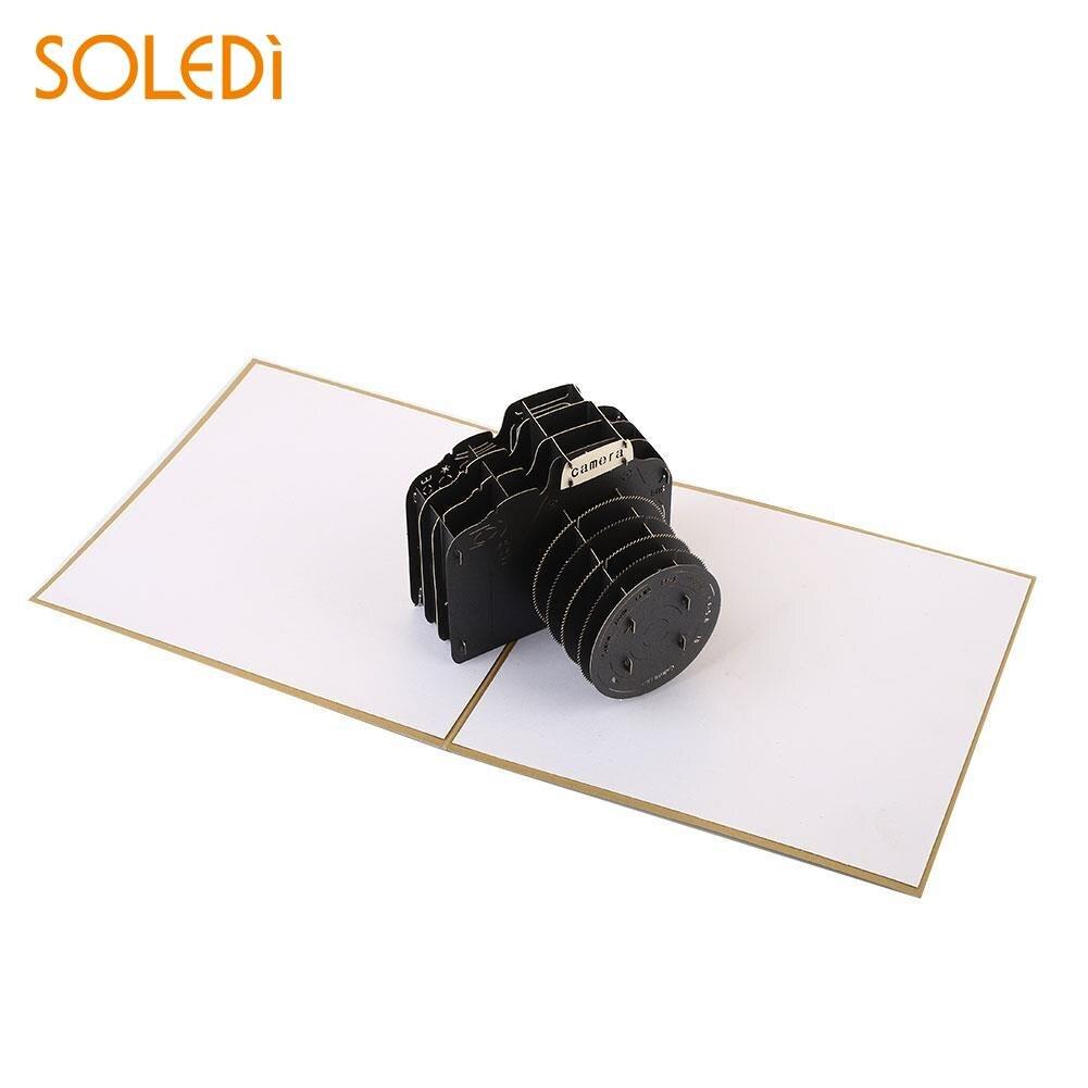 Романтический 3D Бумага Craft открытка Творческий Камера Форма черный с конвертом фестив ...