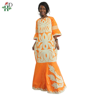 H&D African lady clothes Africa Riche Bazin traditional embroidery dashiki dress white robe femme africain Plus Size head tie