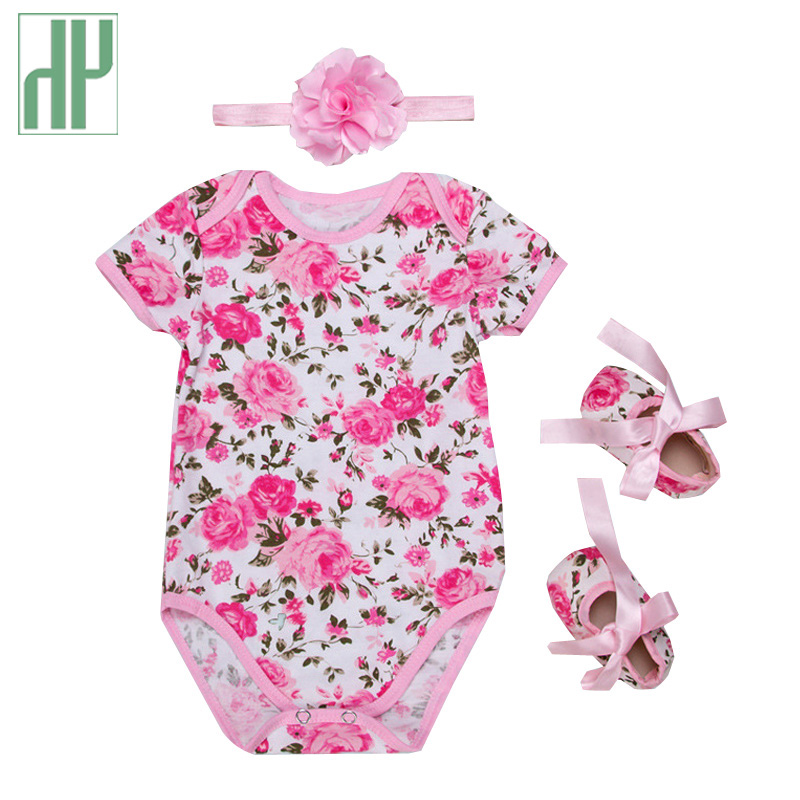 Baby girl clothes summer Spring leopard print Newborn Cotton jumper Flower shoes headband set Cute Kids short sleeve Romper