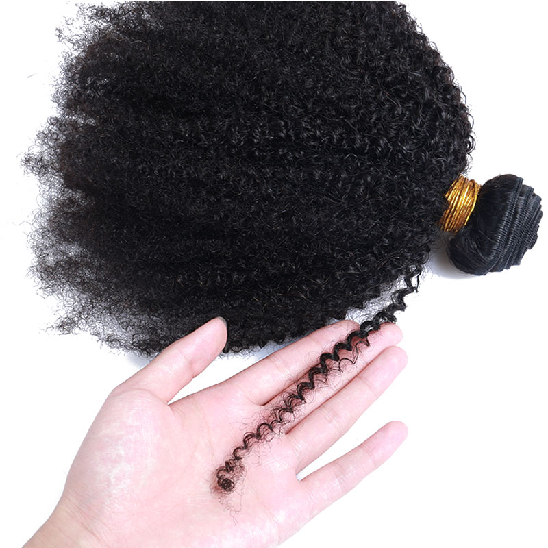Mongolian Afro Kinky Curly Weave With Closure Human Hair Extensions 4B 4C Virgin Hair 1 Or 3 Bundles Natural Black Ever Beauty