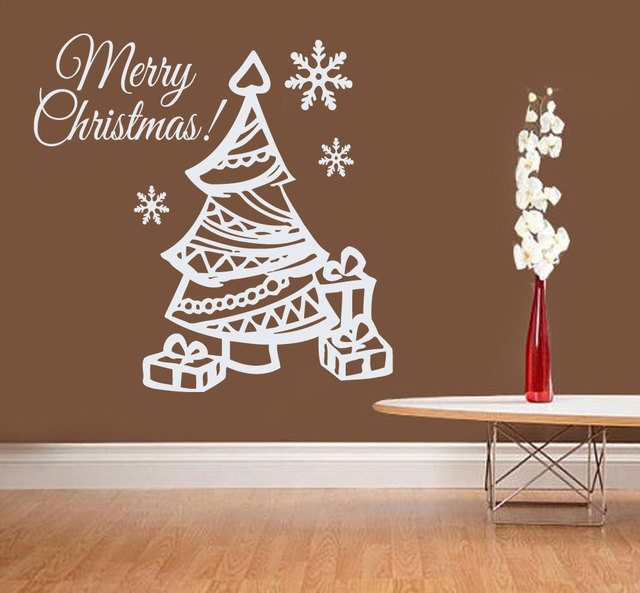 christmas gifts with cute christmas tree wall sticker vinyl merry christmas quotes home room festival decorative