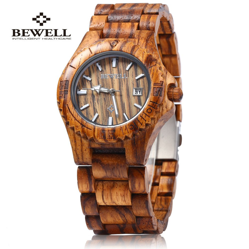 BEWELL Dress Watch Wooden Bangle Calendar-Display Analog Quartz with Natural Relogio