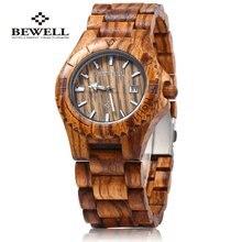 2017 venta caliente hombre vestido reloj bewell hombres reloj de cuarzo analógico con calendario display brazalete de madera natural de madera relojes relogio